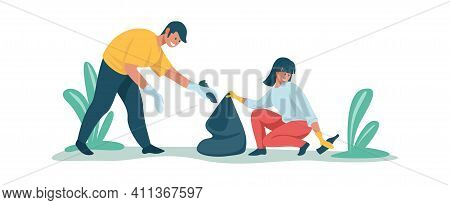 People Collecting Rubbish. Cleaning Garbage Concept. Cartoon Man And Woman Work Together To Clear Ar