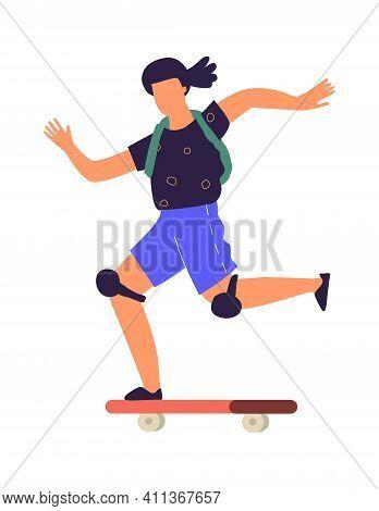 Man On Skateboard. Cartoon Teenager Riding Board. Isolated Boy Speeding On Longboard. Extreme Urban
