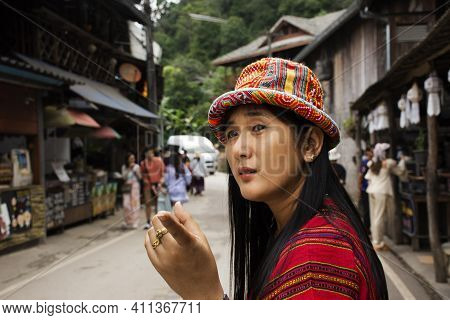 Travelers Thai Women People Travel Visit Rest Relax And Take Photo In Baan Mae Kampong Village Valle