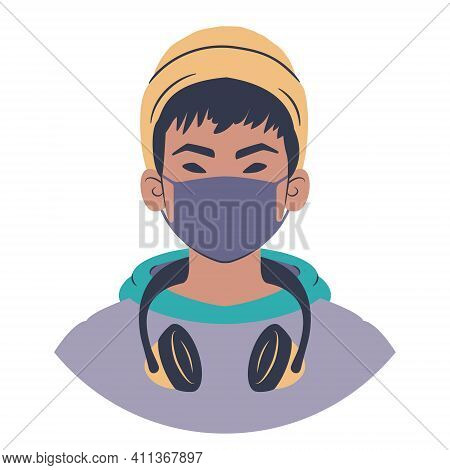 Young man portrait. Avatar of an asian teenager in hoodie wearing a beanie, headphones and a face mask. Flat style illustration.