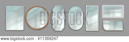 Realistic Mirrors. Round And Square Reflective Glass Surface With Wooden And Metallic Frames. 3d Iso