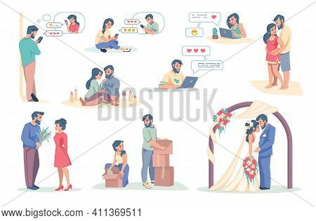 Online Dating App. Cartoon Boy And Girl Using Smartphone Application For Acquaintance. Couple Chatti