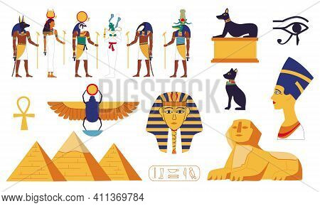 Egypt Collection. Ancient Egyptian Gods Or Mythology Sacral Creatures. Sphinx And Pyramid. Stone Scu
