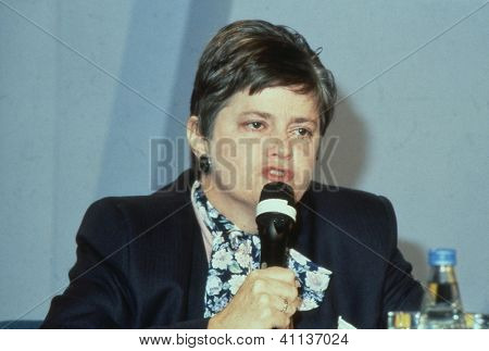 LONDON - JUNE 27: Ann Widdecombe, Parliamentary Under Secretary of State for Social Security and Conservative M.P. for Maidstone, speaks at a party conference on June 27, 1991 in London.