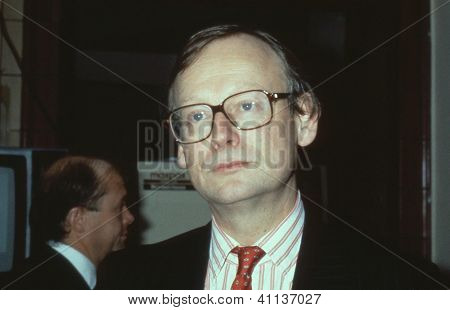 BLACKPOOL, ENGLAND - OCTOBER 10: John Selwyn Gummer, Minister for Agriculture, and Conservative M.P. for Suffolk Coastal, attends the party conference on October 10, 1989 in Blackpool, Lancashire.