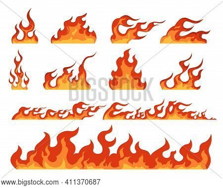 Fire Flame. Cartoon Bonfire And Fiery Borders Decorative Elements. Isolated Bright Red And Orange Bl
