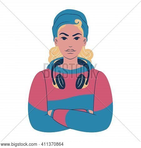 Young woman portrait. Avatar of a caucasian teenager in hoodie wearing a beanie, headphones and a face mask. Flat style illustration.