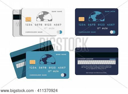 Credit Card. Realistic Plastic Shapes For Cashless Payment. Atm Bank Signs. Front And Back View Of B