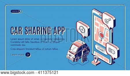 Car Sharing App Isometric Landing Page. Mobile Service For City Transportation, Online Carsharing, A