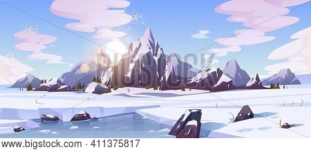 Cold Winter In Canada, Wild Northern Nature Rocky Landscape Cartoon Vector Background With Morning S