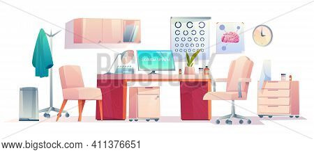 Doctor Therapist Office Stuff Set, Cabinet Interior Equipment Isolated On White Background, Medicine