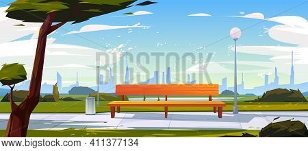 Bench In Park, Summer Time Landscape With City View Background, Empty Public Place For Walking And R