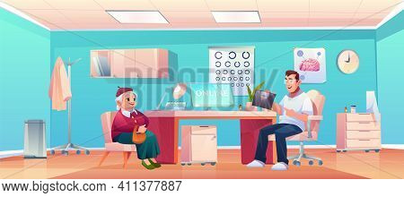 Senior Patient At Doctor Therapist Office, Old Lady And Man Practitioner At Hospital Medical Office