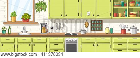 Green Kitchen, Panorama Green Kitchen, Panorama. Hand Drawn Vector Illustration With Separate Layers