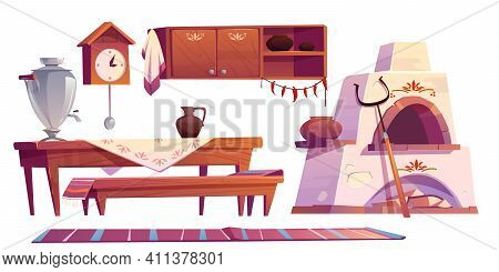 Old Russian Interior For Kitchen. Traditional Stove, Wooden Table, Bench, Cuckoo-clock, Samovar, Gri