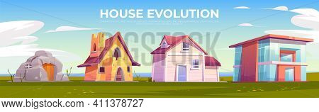 House Evolution Architecture. Dwellings Time Line From Ancient Stone Construction To Modern Cottage