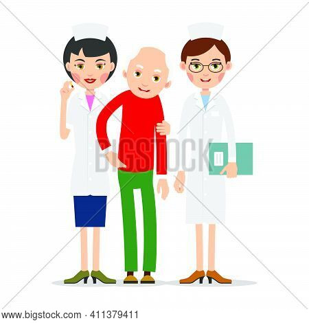 Doctor And Patient. Practitioner Therapist Woman Stands And Supports Old Man Patient. Hand Of Medic
