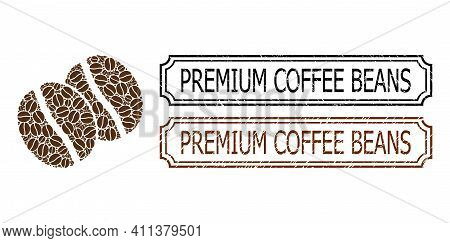 Collage Coffee Beans Constructed From Coffee Beans, And Grunge Premium Coffee Beans Rectangle Stamps