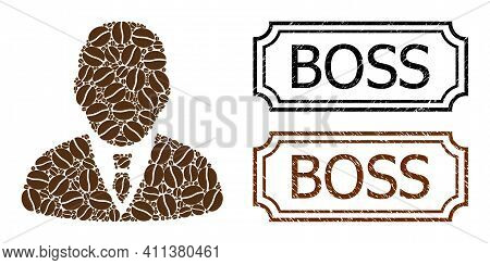 Mosaic Boss Composed Of Cacao Beans, And Grunge Boss Rectangle Badges With Notches. Vector Coffee Pa