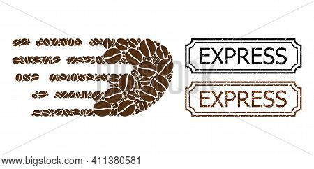 Mosaic Rush Bolide Constructed From Coffee Grain, And Grunge Express Rectangle Stamps With Notches.