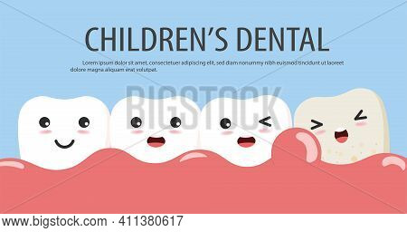 Periodontitis Or Gum Disease With Bleeding. Cute Cartoon Tooth Character With Gum Problem. Vector, I