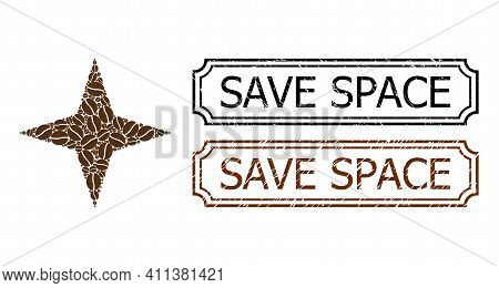 Collage Space Star Constructed From Cacao Grain, And Grunge Save Space Rectangle Stamps With Notches