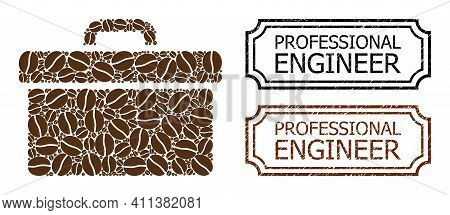 Mosaic Toolbox Constructed From Coffee Beans, And Grunge Professional Engineer Rectangle Seals With