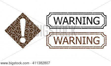 Mosaic Warning Constructed From Cacao Beans, And Grunge Warning Rectangle Stamps With Notches. Vecto