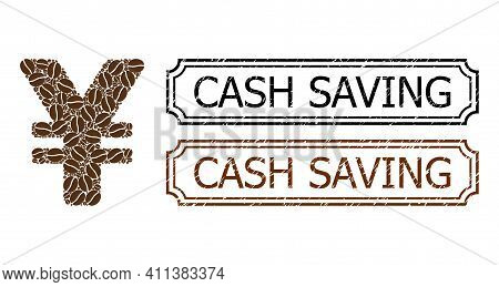 Mosaic Yen Constructed From Cocoa Seeds, And Grunge Cash Saving Rectangle Seals With Notches. Vector