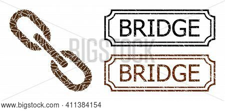 Collage Chain Composed Of Cocoa Grain, And Grunge Bridge Rectangle Seals With Notches. Vector Coffee