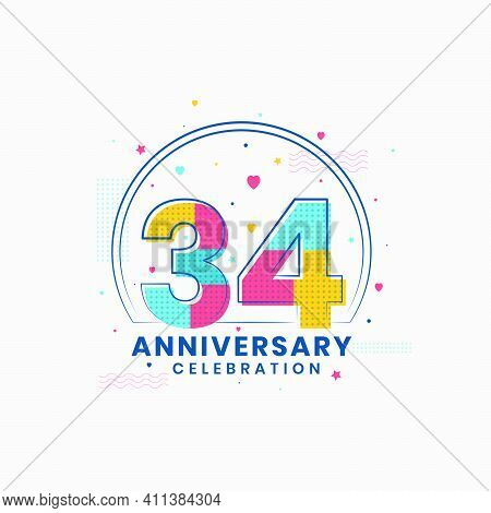 34 Anniversary Celebration, Modern 34th Anniversary Design Vector Illustrator