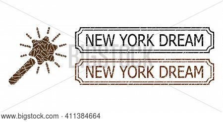 Collage Wand Magic Tool United From Coffee Grain, And Grunge New York Dream Rectangle Seals With Not