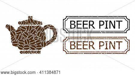 Mosaic Kettle Organized From Cacao Seeds, And Grunge Beer Pint Rectangle Seals With Notches. Vector