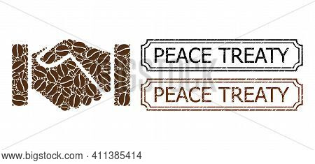 Mosaic Handshake United From Cocoa Seeds, And Grunge Peace Treaty Rectangle Seals With Notches. Vect