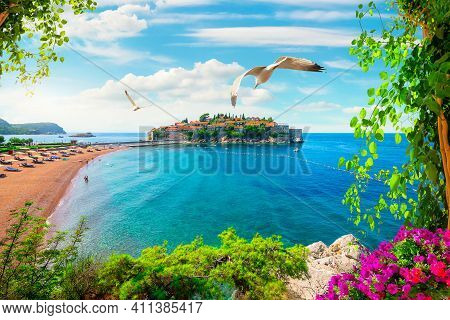 Beach Near The Island Of Sveti Stefan