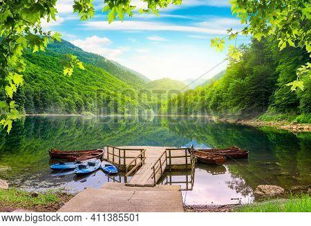 Boats On Biogradska Lake In National Park Biogradska Gora. Montenegro