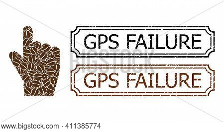 Collage Index Finger Constructed From Coffee Seeds, And Grunge Gps Failure Rectangle Badges With Not