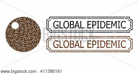 Mosaic Sphere Organized From Coffee Beans, And Grunge Global Epidemic Rectangle Seals With Notches.