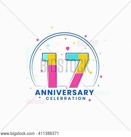 17 Anniversary Celebration, Modern 17th Anniversary Design Vector Illustrator