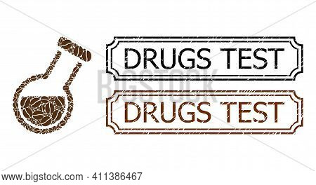 Mosaic Chemistry Tube United From Cacao Seeds, And Grunge Drugs Test Rectangle Seal Stamps With Notc