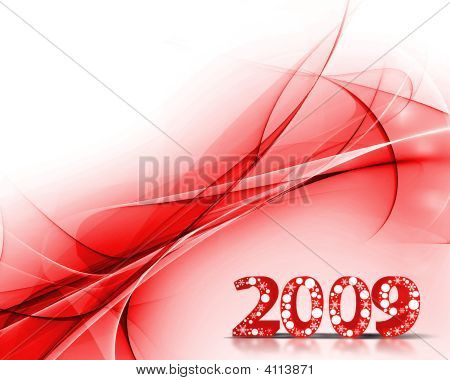 2009 wave element for design - New Year background poster
