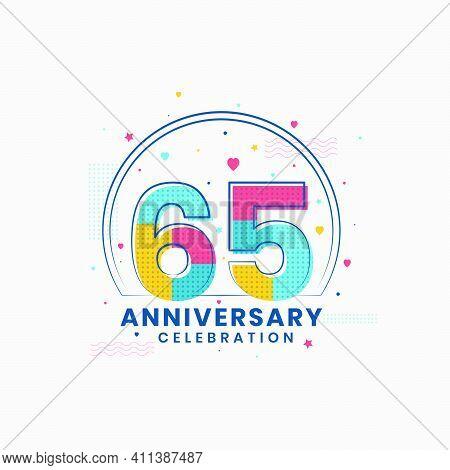 65 Anniversary Celebration, Modern 65th Anniversary Design Vector Illustrator