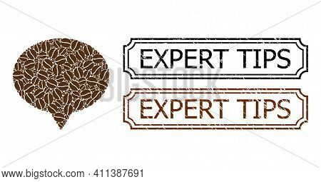 Mosaic Hint Composed Of Coffee Beans, And Grunge Expert Tips Rectangle Stamps With Notches. Vector C