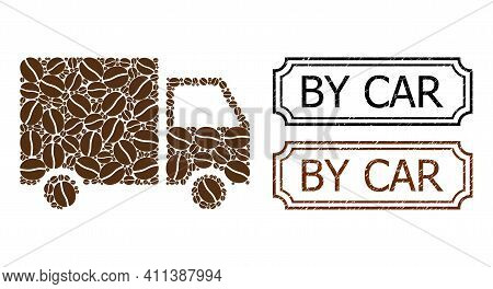 Mosaic Shipment Van United From Coffee Grain, And Grunge By Car Rectangle Seals With Notches. Vector