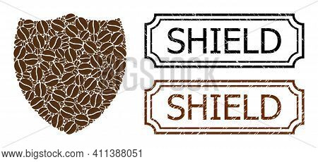 Collage Shield United From Coffee Grain, And Grunge Shield Rectangle Seals With Notches. Vector Coff