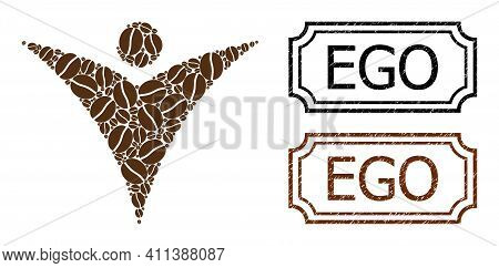 Mosaic Futuristic Man United From Coffee Grain, And Grunge Ego Rectangle Badges With Notches. Vector