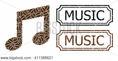 Mosaic Music Composed Of Cocoa Seeds, And Grunge Music Rectangle Seals With Notches. Vector Coffee E