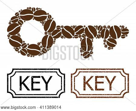 Collage Key Organized From Coffee Beans, And Grunge Key Rectangle Stamps With Notches. Vector Coffee