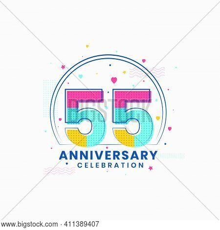 55 Anniversary Celebration, Modern 55th Anniversary Design Vector Illustrator