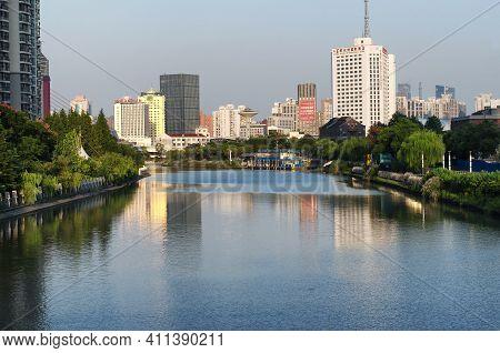 Shanghai, China. October 2, 2015.  Various Modern Buildings Lining The Wusong River, Suzhou Creek, O